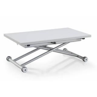 Table basse relevable extensible UPDOWN blanc satiné Petite taille compacte