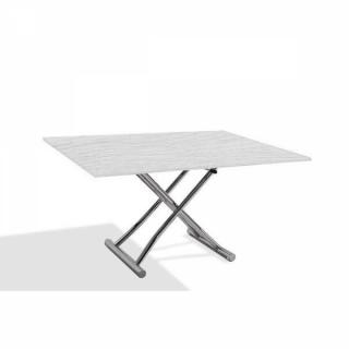 Table basse compacte HIGH and LOW relevable extensible finition chêne blanc