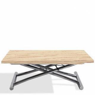 Table basse compacte HIGH and LOW relevable extensible finition chêne clair
