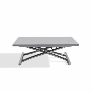 Table basse relevable extensible HIGH and LOW gris laqué brillant. Petite taille compacte.