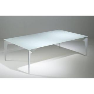 Table basse design ROCKY en verre blanc