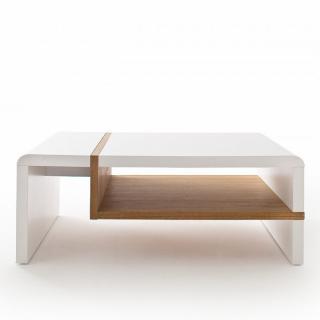 Table basse RODRIG blanc laqué mat et tablette placage chêne 100 x 70 cm