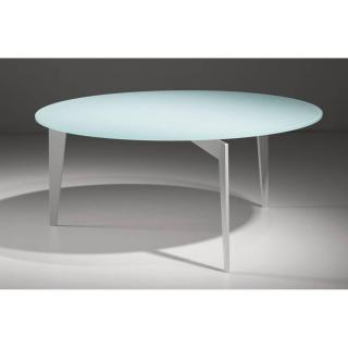 Table basse ronde MIKY en verre blanc