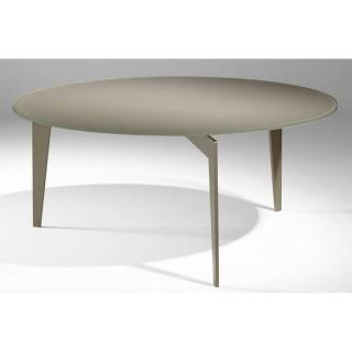Table basse ronde MIKY en verre taupe