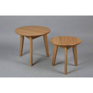 Lot de 2 tables basses rondes OLGA en chêne massif