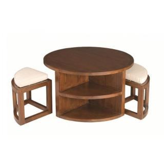Ensemble table basse ronde 90cm 2 tabourets LAUREN en mindi style colonial