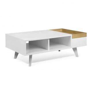 Table basse fonctionnelle RUBEN avec plateau amovible blanc et chêne