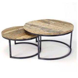 Lot de 2 tables basse d'appoint ronde en bois dur