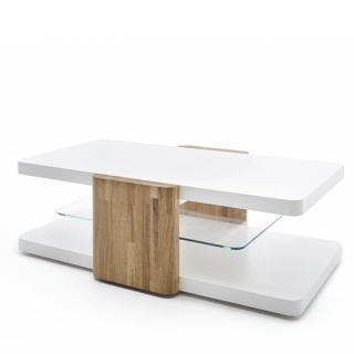 Table basse SANDIE 120 x 70 cm blanc laque mat montants chene massif