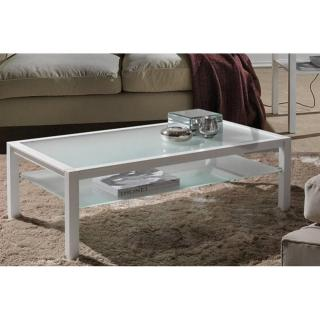 Table basse DOMUS blanc design en verre blanc