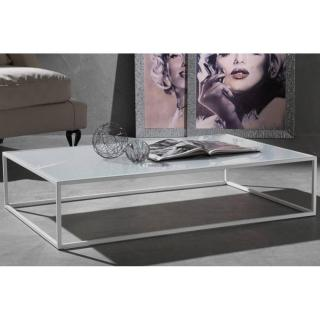 Table basse POLIEDRO design en verre extra blanc