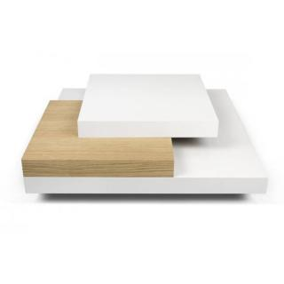 SLATE  table basse blanche et chêne