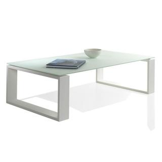 Table basse TACOS en verre dépoli blanc