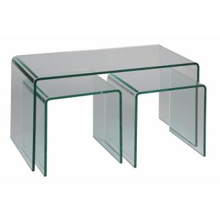 Lot de 3 tables basses TANZANITE en verre