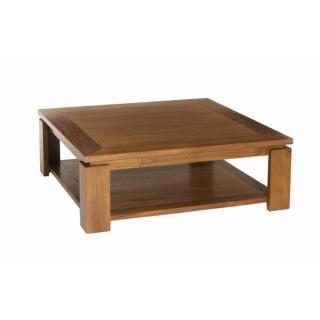 Table Basse 90*90cm avec Sous Plateau Style Colonial en Teck Massif