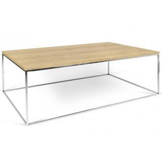 Tema Home Table basse rectangulaire GLEAM 120 plateau chêne structure chromée.