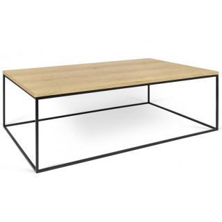 Tema Home Table basse rectangulaire GLEAM 120 plateau chêne structure laquée noir mat.