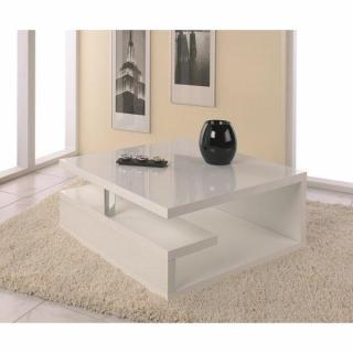 Table basse VALENTINE laquée blanc brillant avec rangements.