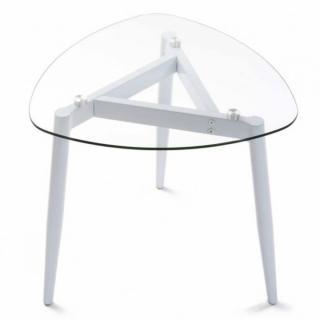 Table basse VERRA plateau verre pied bois blanc