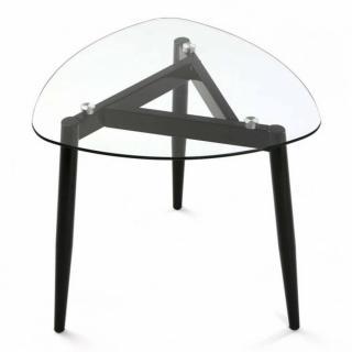 Table basse VERRA plateau verre pied bois noir