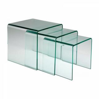 Lot de 3 tables gigogne EUPHORIA en verre