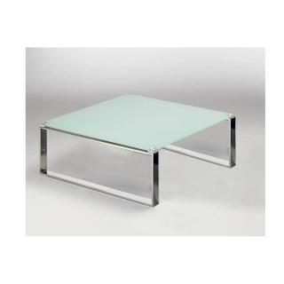 Table basse carrée ZOE en verre blanc