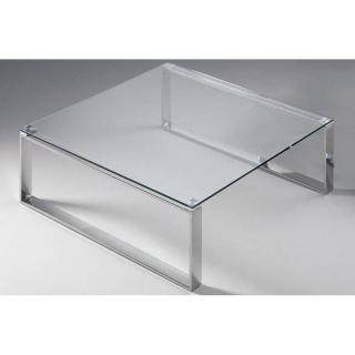 Table basse carrée ZOE en verre transparent