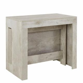 Table console extensible 12 couverts LONGO 300 cm finition béton avec 5 allonges intégrées
