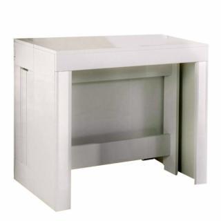 Table console extensible 12 couverts LONGO 300 cm finition laqué blanc brillant avec 5 allonges intégrées