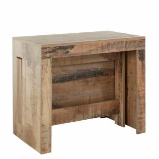 Table console extensible 12 couverts LONGO 300 cm finition érable vintage avec 5 allonges intégrées