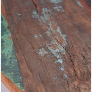 Table cremaillere unique FUNDOS en bois de manguier recycle et acier
