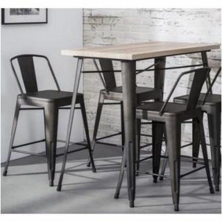 Table de bar BILOU design chêne avec piétement en acier