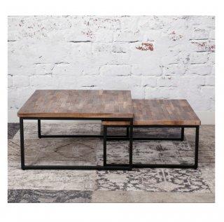 Ensemble de 2 tables basses TECA en teck carrée