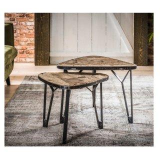 Lot de 2 tables de salon en forme triangulaire en bois dur