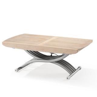 Table basse relevable LIFT plateau fixe chêne rustique clair