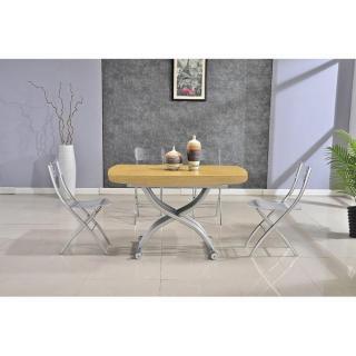 Table relevable LIFT chêne clair extensible en table repas 8 couverts