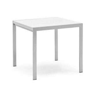 Table repas extensible ALADIN  blanche avec piétement en acier satiné