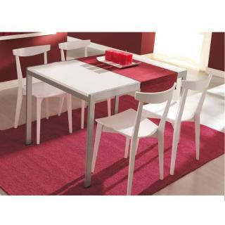 Table repas extensible ALADIN  110x70 blanc pietement acier satine