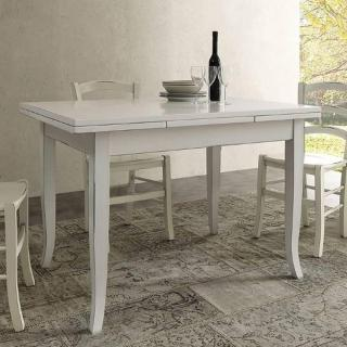 Table repas extensible BRENTA  finition blanche aspect vieillie 130 x 85 cm 2 allonges