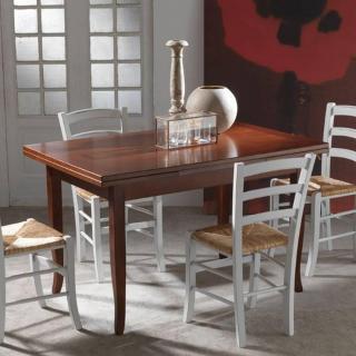 Table repas extensible BRENTA finition noyer foncé 130 x 85 cm 2 allonges