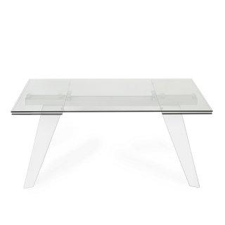 Table repas extensible INDIANNA plateau en verre trempé piétement bois naturel massif laqué blanc brillant
