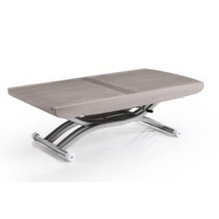 Table relevable LIFT chêne gris extensible en table repas 8 couverts