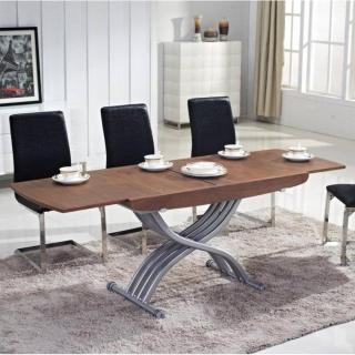 Table relevable LIFT GLASS noyer verre marron extensible en table repas 8 couverts