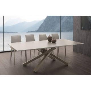 Table repas extensible INFINITY en verre taupe 160 cm