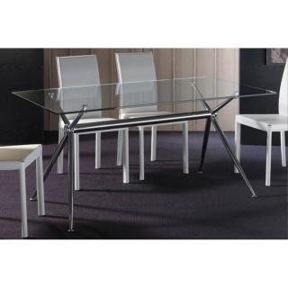 Table repas ATENE en verre piétement acier chromé