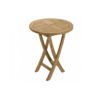 Table ronde pliante de jardin 60*60 cm en teck