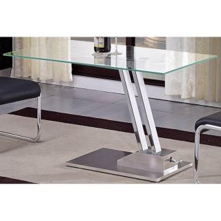 Table basse relevable STEP en verre transparente structure chromée