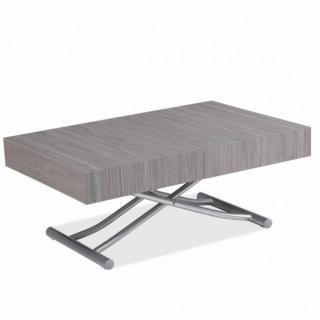 Table basse relevable extensible ALBATROS design en Chêne Gris et Pied alu