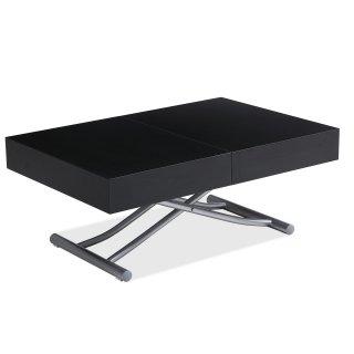 Table basse relevable extensible design ALBATROS bois noir et Pied alu