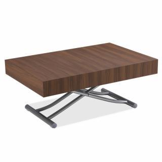 Table basse relevable extensible ALBATROS design coloris Noyer Pied alu